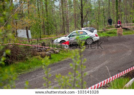MALLOW, IRELAND - MAY 19: N. Henry driving Subaru Impreza at the Jim Walsh Cork Forest Rally on May 19, 2012 in Mallow, Ireland. 4th round of the Valvoline National Forest Rally Championship.