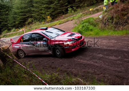 MALLOW, IRELAND - MAY 19: P. O' Connell driving Mitsubishi Evo at the Jim Walsh Cork Forest Rally on May 19, 2012 in Mallow, Ireland. 4th round of the Valvoline National Forest Rally Championship.