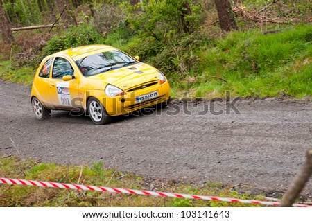 MALLOW, IRELAND - MAY 19: unidentified driver on Ford Ka at the Jim Walsh Cork Forest Rally on May 19, 2012 in Mallow, Ireland. 4th round of the Valvoline National Forest Rally Championship.