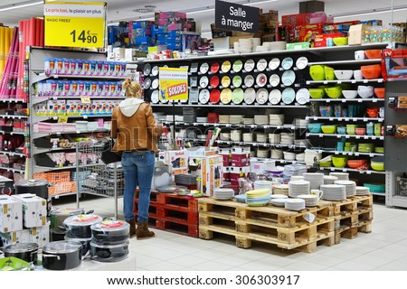 MALMEDY, BELGIUM - JULY 27: Customer in the Household appliances section of a Carrefour Hypermarket, a French multinational retailer, and large hypermarket chain. taken on July 27, 2015 in Belgium