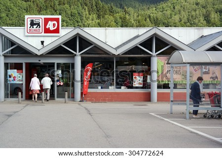 MALMEDY, BELGIUM - JULY 29: Delhaize supermarket, part of Delhaize Group, an international food retailer which operates supermarkets on three continents. Taken in Belgium on July 29, 2015 - stock photo