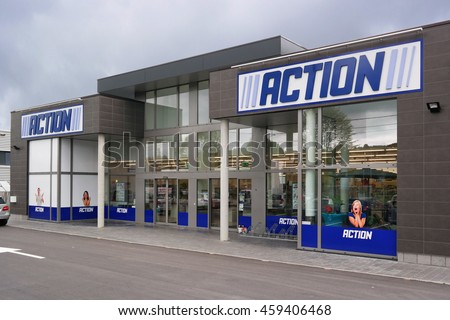 MALMEDY, BELGIUM - MAY 9: Action is a Dutch discount store-chain. Sells in their variety stores low budget products. Action operates over 400 stores in Europe. Taken on May 9, 2015 in Malmedy, Belgium