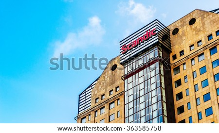 MALMO, SWEDEN - JANUARY 4, 2015: Scandic hotel in Malmo, Sweden. Scandic Hotels is a hotel chain headquartered in Stockholm, Sweden with its main operations in the Nordic countries. - stock photo