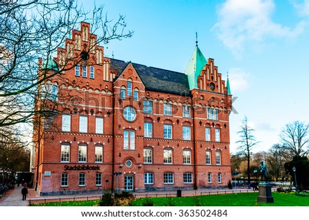MALMO, SWEDEN - JANUARY 4, 2015: The city library in Malmo in Sweden. Malmo City Library first opened on 12 December 1905. - stock photo