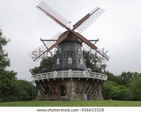 MALMO, SWEDEN - July 6, 2012 : Old Windmill Slottsmollan in the Kungsparken Park, Malmo, Sweden