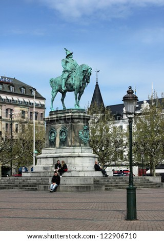 MALMO, SWEDEN - MAY 18: Statue of king Karl X Gustav on the Stortorget square. This square used both for big events, such as Malmo festival, and for rendezvous, May 18, 2012 in Malmo.