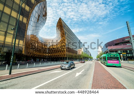 MALMO, SWEDEN - MAY 29, 2016: Street side view for big shopping center in Malmo city periphery, May 29, Sweden. Emporia is one of the biggest shopping mall in Scandinavia, opened in October 2012.