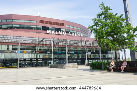 MALMO, SWEDEN - MAY 29: The Newly completed Malmo Arena on MAY 29, 2016 in Malmo, Sweden. The arena can host up to 15,500 people for concerts and sporting events.