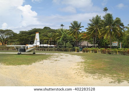 MALOLO LAILAI ISLAND, FIJI - MARCH 19: Small aircraft on airstrip of Plantation Island Resort on the tiny island in South Sea