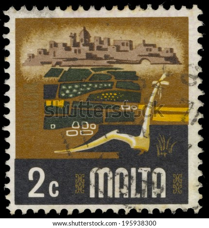 MALTA - CIRCA 1973: A stamp printed in Malta, shows Agriculture, circa 1973