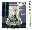 MALTA - CIRCA 1969: A stamp printed in Malta, shows June 17, 1919, Uprising Monument, circa 1969 - stock photo