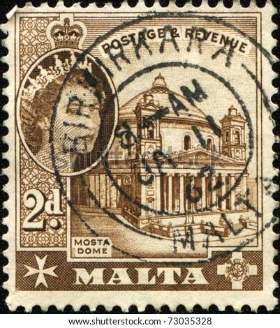 MALTA - CIRCA 1956: A stamp printed in Malta shows Mosta Dome, circa 1956 - stock photo