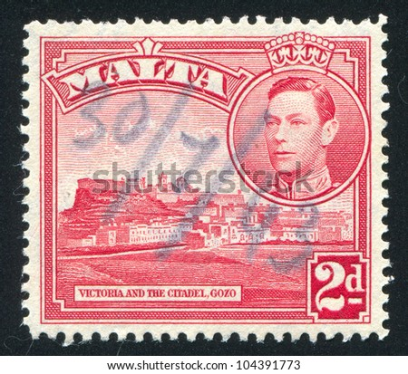 MALTA - CIRCA 1937: stamp printed by Malta, shows Victoria and Citadel, Gozo, circa 1937