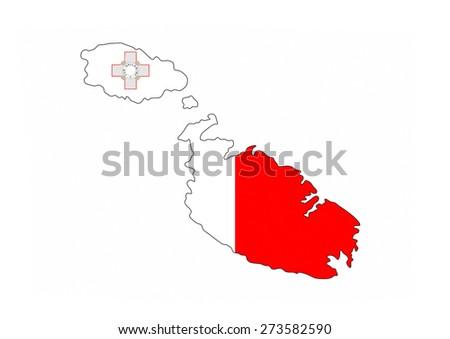 malta country flag map shape national symbol - stock photo