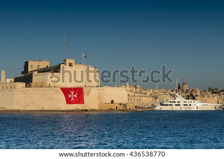 Malta Cross on huge flag, Fort St. Angelo, Grand Harbor during The Pageant of the Seas, June 2016.