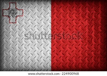 Malta flag pattern on the diamond metal plate texture ,vintage style - stock photo