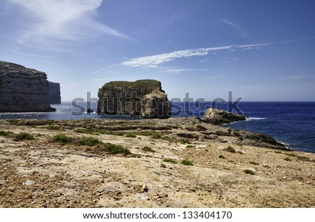 Malta Island, Gozo, Dweira, view of the rocky coastline near the Azure Window Rock