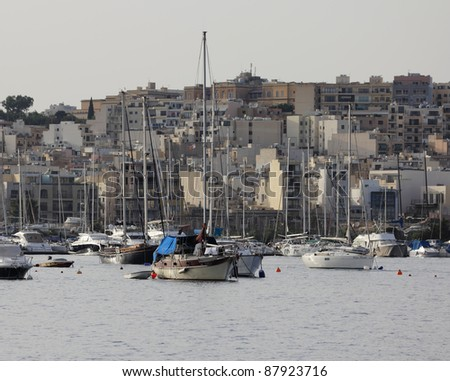 Malta Island, luxury yachts in La Valletta port - stock photo