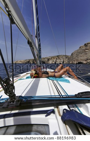 Malta Island, view of the western rocky coastline from a sailing boat
