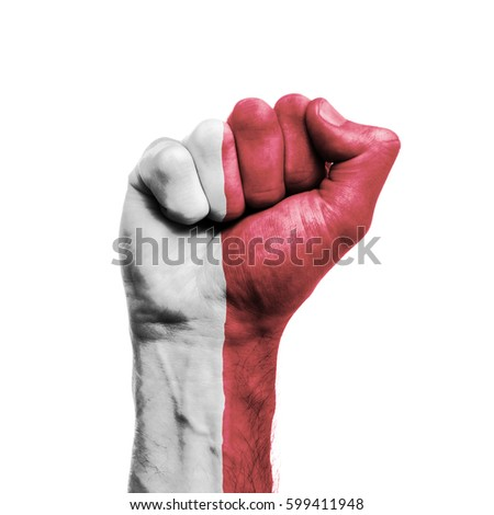 Malta national flag painted onto a male clenched fist. Strength, Power, Protest concept