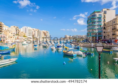 MALTA - 21 SEPTEMBER, 2016: Panoramic View of the Saint Julians Bay
