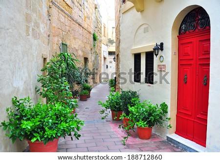 Malta typical street - stock photo