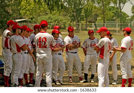 Malta under-21 baseball team listening to orders from coach