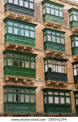Maltese balconies in Valletta. - stock photo