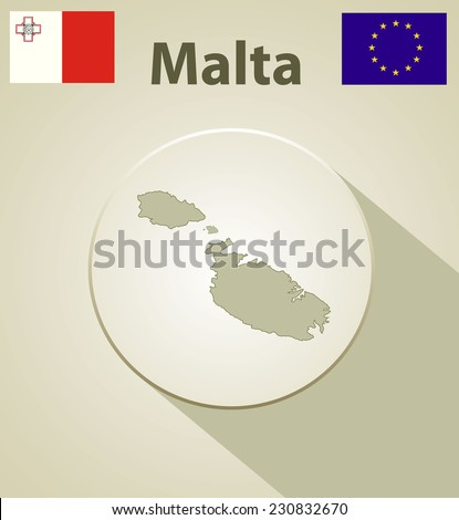 Maltese map including: flags of Malta and European Union. - stock photo