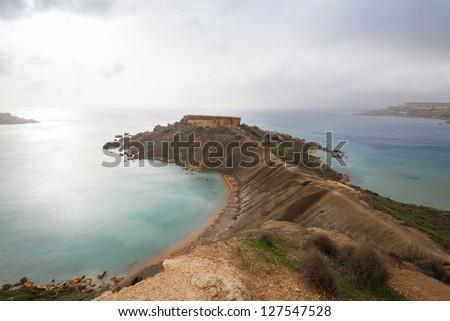 Maltese rocky seascape, island's west side, Gnejna and Riviera Bay, Malta - stock photo