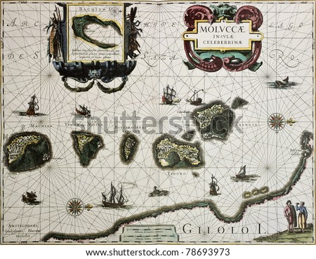 Maluku island old map. Created by Willem Blaeu, published in Amsterdam 1630 - stock photo