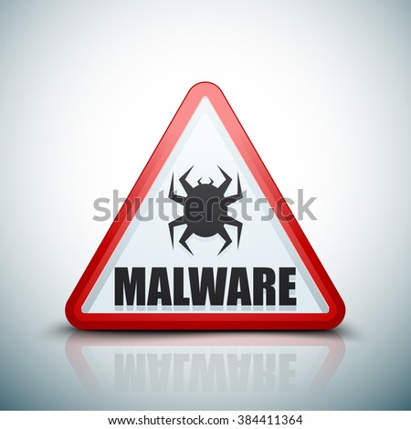 Malware Attention Hazard sign - stock photo