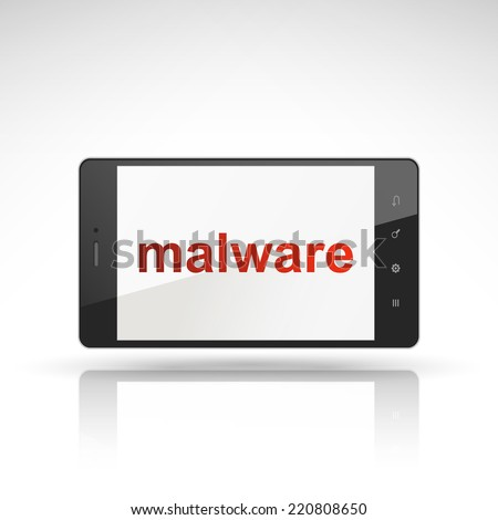 malware word on mobile phone isolated on white - stock photo
