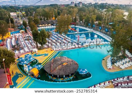 Mamaia-JUNE 2: Aqua Magic on June 2,2012 in Mamaia. Aqua Magic is an outdoor water park in Mamaia, Romania - stock photo