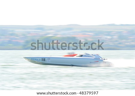 MAMAIA, ROMANIA - AUGUST 28: Boat Giorgioffshore prepared for official practice during the Class One Romanian Grand Prix August 28, 2009 in Mamaia, Romania - stock photo