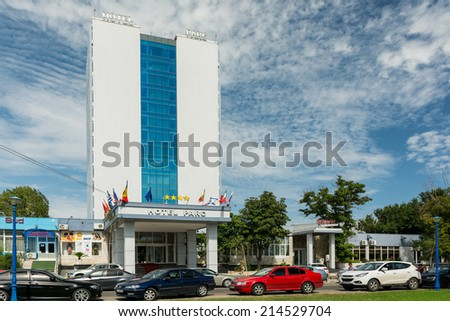 MAMAIA, ROMANIA - AUGUST 01, 2014: Hotel Parc Is A Four Star Hotel At The Black Sea. Mamaia is considered to be Romania's most popular resort with lots of five and four star hotels.