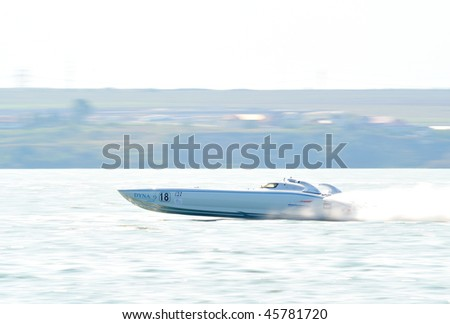MAMAIA, ROMANIA - AUGUST 29:the favorite boat, in first race of the Class One Romanian Grand Prix August 29, 2009 in Mamaia, Romania - stock photo