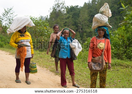 Mamasa, Sulawesi, Indonesia - August 18, 2014: group of women carrying bags and sacks on a road in the countryside of Mamasa, Sulawesi, Indonesia. Concept of manual working in developing countries. - stock photo