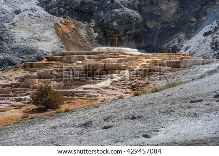 Mammoth Hot Spring Terraces at Yellowstone National Park, Wyoming, USA - stock photo