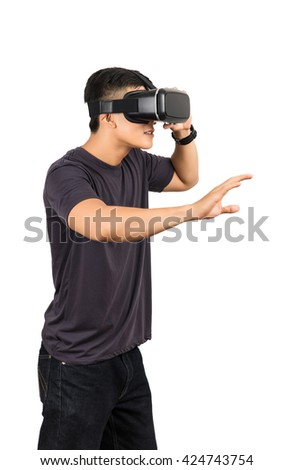 man action in virtual reality helmet. VR glasses, on white isolated background - stock photo