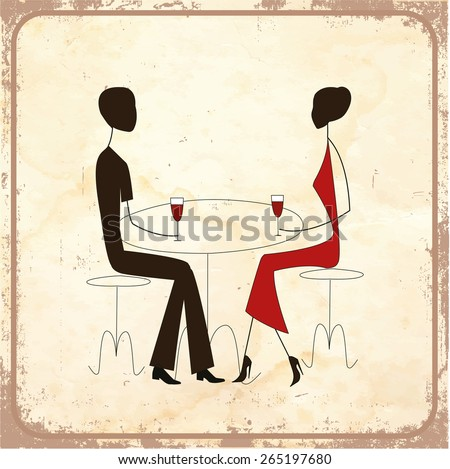 Man ad woman in a restaurant, vintage style - stock photo