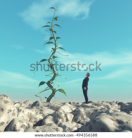 Man admiring a huge beanstalk. This is a 3d render illustration