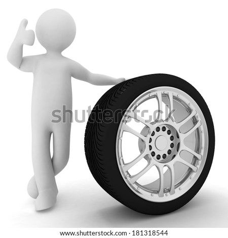 Man advertises car service on a white background  - stock photo