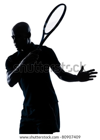 man african afro american playing tennis player forehand - stock photo