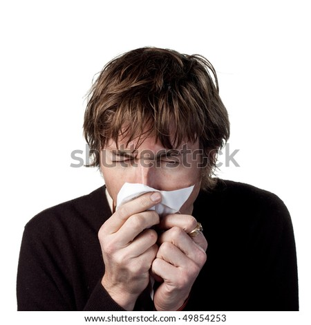 Man allergic to something - stock photo