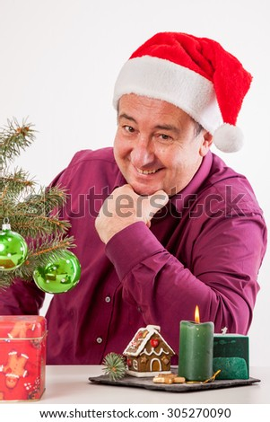 Man alone on Christmas party - stock photo