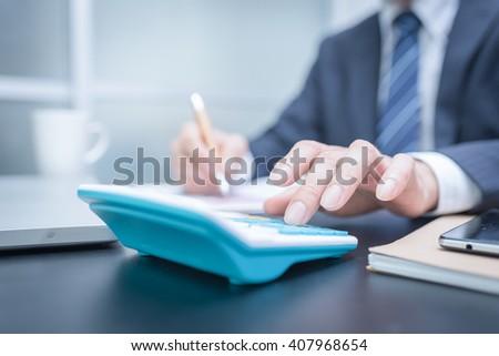 Man Analysis Business Accounting. Close-up photo - stock photo