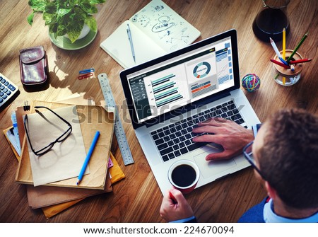 Man Analysis Business Accounting on Laptop - stock photo