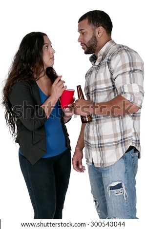 Man and a Woman drinking alcoholic beverages - stock photo
