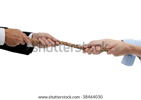 Man and a woman pulling a rope on a white background